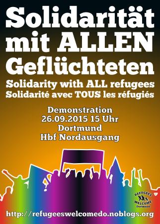 Flyer Demo bunter Schattenriss einer Menschenmenge, Schriftzug Solidarität mit allen Geflüchteten