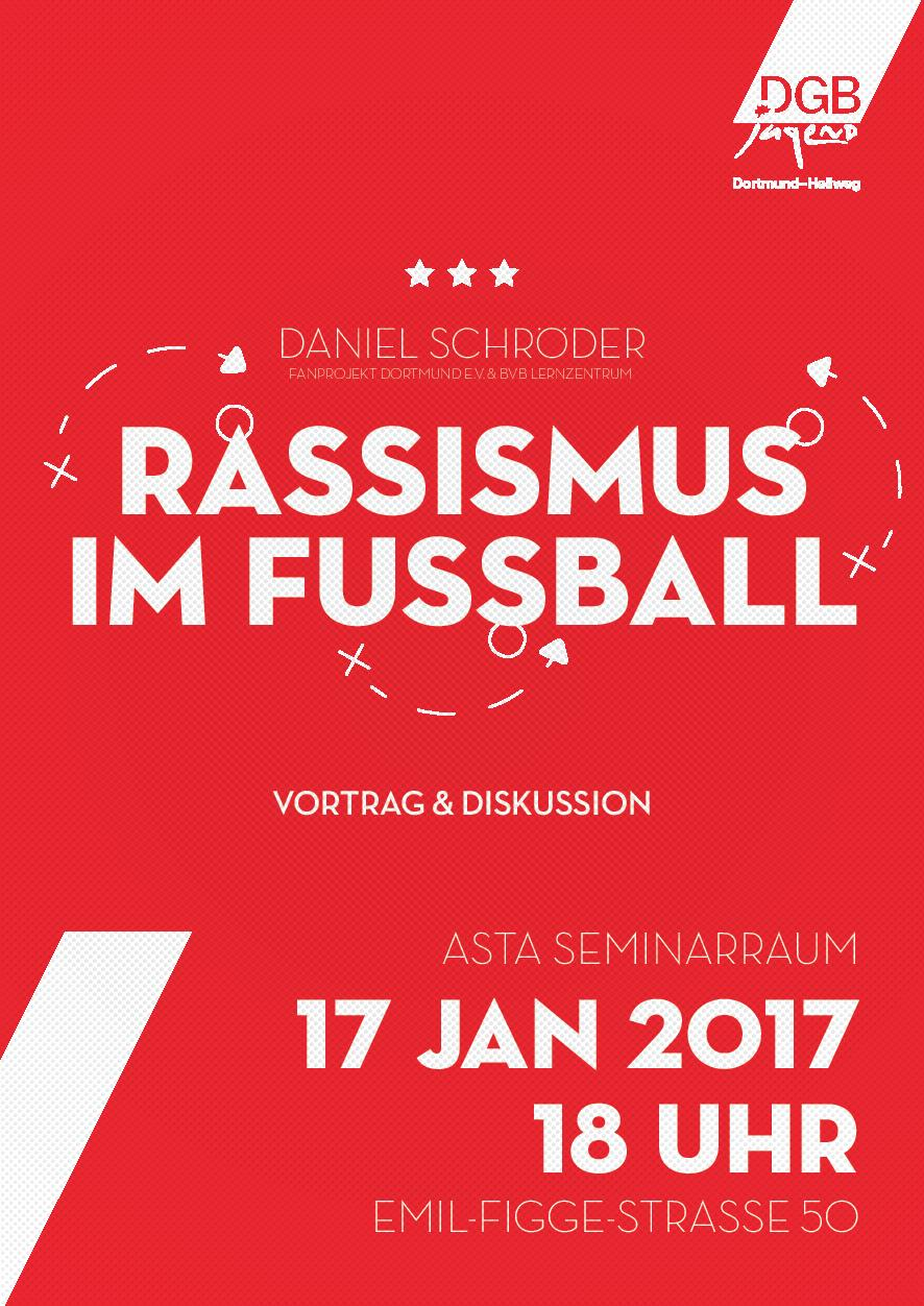 weißer Schriftzug auf rotem Grund: Rassismus im Fußball